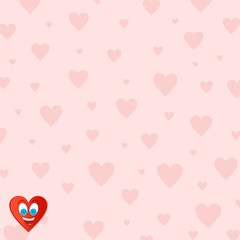 Pink Valentine background for those in love with pink hearts of different sizes with a joyful heart face with blue eyes and an open mouth with tongue and teeth in the lower left corner