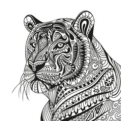 Vector Illustration of an Abstract Ornamental Tiger