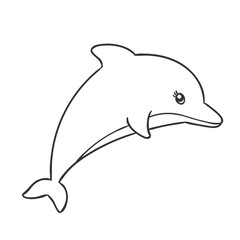 Vector Illustration of a Cute Hand Drawn Dolphin