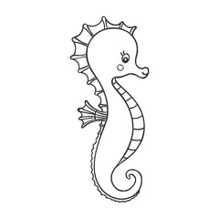 Vector Illustration of a Cute Hand Drawn Sea Horse