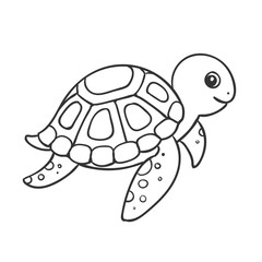 Vector Illustration of a Cute Hand Drawn Turtle