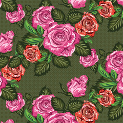 Seamless floral pattern. Bright pink roses on the green background. Vector illustration vintage roses