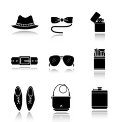 Men's accessories drop shadow black icons set