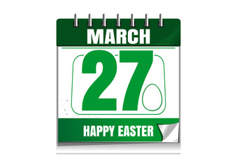 Wall calendar with the date of March 27 isolated on white background. Celebrating the resurrection of Jesus Christ. Happy Easter. Easter calendar. Vector illustration