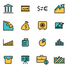 Trendy flat line icon pack for designers and developers. Vector line economic icon set, economic icon object, economic icon picture, economic image - stock vector