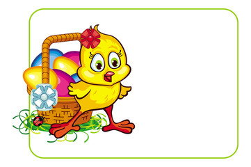 Vector frame with cartoon chicken and Easter eggs