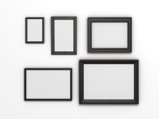 set of black frames of different sizes on a white background