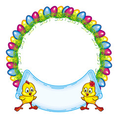 Round frame with cartoon chicken and Easter eggs