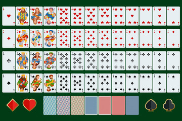 Poker cards full set. Flat design. Poker set with isolated cards on green background