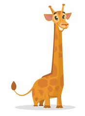Happy cartoon giraffe. Vector flat illustration