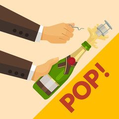 Opening champagne bottle. Vector flat illustration