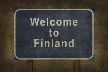 Finland border 10 km roadside sign illustration