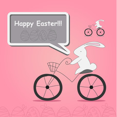 white rabbit on bicycle