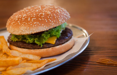 Home-made fresh cheeseburger and french fries