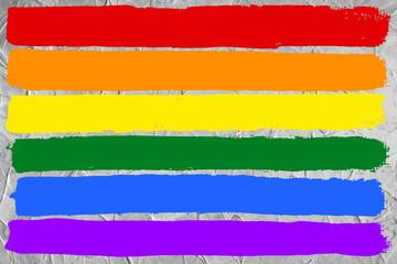 Gay and LGBT rainbow flag, Handmade. Textured, made with acrylic paint and canvas.