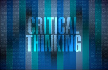 Critical Thinking binary sign illustration