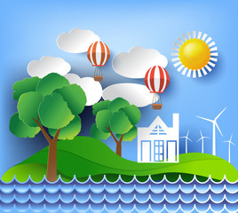 eco friendly, ecology concept with tree background. Vector illustration