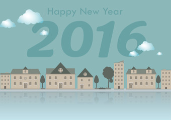 2016 Happy New Year town city with mirror in water; vector illustration