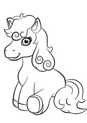 Coloring pages. Little cute pony seating.