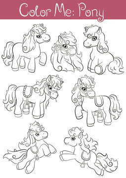 """Coloring pages """"Color me: Pony"""". Set of seven little cute pony. They are standing, running, jumping and smiling."""