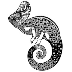Ornate chameleon vector illustration