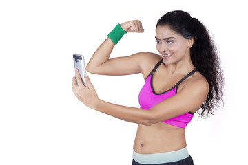Female athlete taking selfie picture