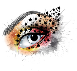 Grunge eye with stars  makeup beauty and fashion creative concept