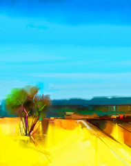 Oil painting Abstract colorful yellow and blue sky landscape on canvas. Semi- abstract image of tree, hill and yellow flowers meadow (field) with blue sky. Summer season nature background