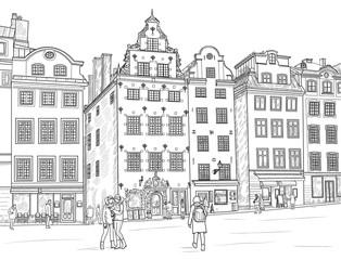 Sketch Stortorget in Stockholm