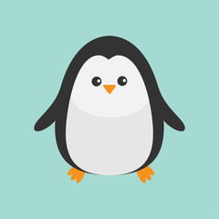 Penguin. Cute cartoon character.  Baby bird. Arctic animal collection. Flat design