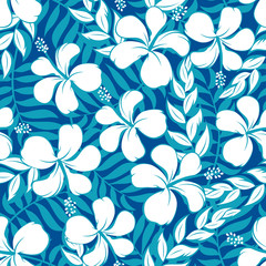 Tropical white and turquoise graphic seamless pattern