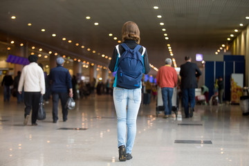 Girl travelling with backpack