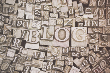 Close up of typeset letters with the word Blog