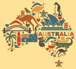 Australian icons in the form of a map