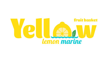 Yellow and blue logo with word Yellow lemon marine, fruit basket at a white background. Vector Illustration.