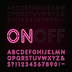 Red Neon Light Alphabet Font. Two different styles. Lights on or off. Type letters, numbers and symbols. Vector typeface for animation, labels, titles, posters etc.