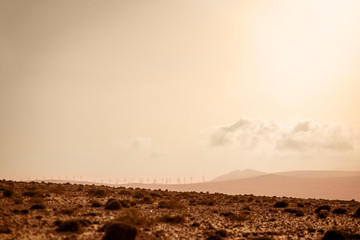 Electric windmills on the south of Fuerteventura island on the Jandia desert. Wide angle view with copy space