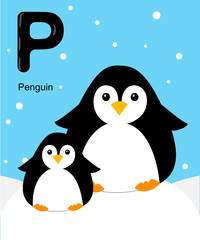 Alphabet for children. Cute vector zoo alphabet with cartoon animals isolated on white P penguin
