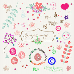 Spring flowers and curls Components drawn spring - flowers, leaves , roses , monograms vector on a gentle striped background