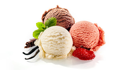 Deurstickers Dessert Three single servings of colorful frozen dessert
