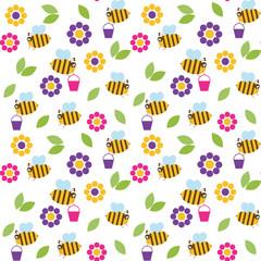 Vector illustration of bee seamless pattern