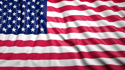 Wavy flag of USA closeup background
