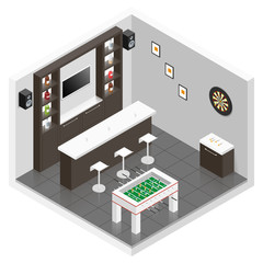 Lounge for men room isometric icon set
