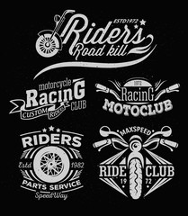 Motorcycle Rock Themed Badge Vectors. Sports insignia emblem set. Motorcycle vintage design. Biker emblem design elements