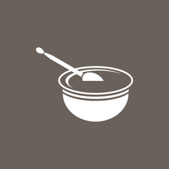 Baby Milk Bowl & Spoon Icon on Dark Gray Color. Eps-10.