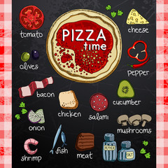 Pizza and ingredients for cooking
