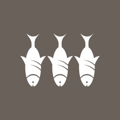 Fish Icon on Dark Gray Color. Eps-10.