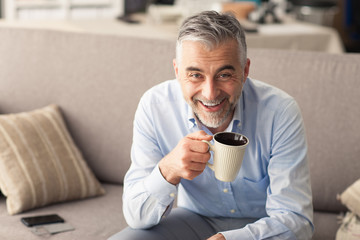 Man having a coffee break