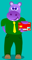 Hippo holding credit card