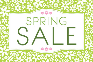 Green Spring Sale banner with flowers in the background. Great for posters, prints, adverts, flyers, price tags and catalogs